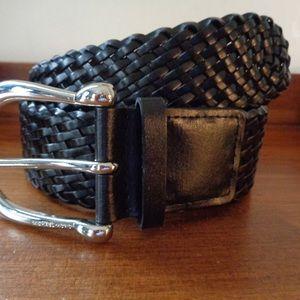 MICHAEL Michael Kors black woven leather belt M